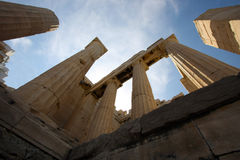 Greek ancient pillars of doric order Royalty Free Stock Photography