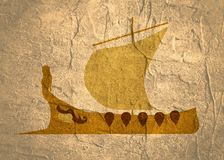 Greek ancient ship. Greek antique military sailboat with woman figure on bow Royalty Free Stock Photo