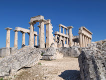 Greek ancient temple of afaia Stock Images
