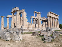 Greek ancient temple of afaia. A back view of the greek ancient temple of afaia in aegina island, greece Royalty Free Stock Photos