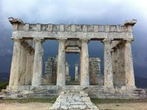 Greek Ancient Temple Of Aphaia Stock Photos
