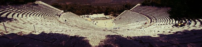 Greek Ancient Theater Panorama. Ancient Theater of Epidavros, Peloponissos, Greece photo stitched from 5 consecutive photos Royalty Free Stock Photo