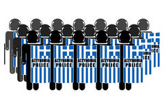 Greek Anti-Riot Police. Silhouette of Greek Anti-Riot Police Stock Photos