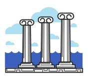 Greek antique columns Cyprus travel landmark symbol and vector tourist sightseeing Stock Image