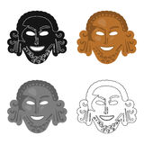 Greek antique mask icon in cartoon style isolated on white background. Greece symbol stock vector illustration. Stock Photo