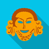Greek antique mask icon in flat style isolated on white background. Greece symbol stock vector illustration. Royalty Free Stock Images
