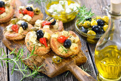 Greek appetizers with feta cheese Stock Photos