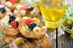 Greek appetizers with feta cheese Royalty Free Stock Image