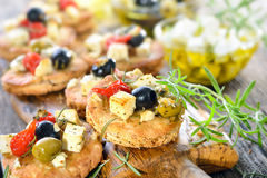 Greek appetizers with feta cheese Royalty Free Stock Photo