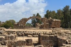 Greek arches in ruins of ancient complex in Paphos, Cyprus Royalty Free Stock Photo