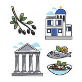 Greek architectural and food symbols isolated illustrations set. Black olive on branch, small authentic church, ancient columns, fish with lemon and Greek salad Royalty Free Stock Photography