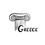 Greek architectural symbol. Ionic column. Travel Greece label Royalty Free Stock Photography