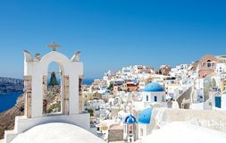 Greek architecture. Architecture Greek cities very distinctive. Comfortable white houses and churches with bright color accents, very nice looking at the Stock Image