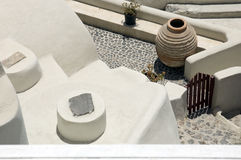 Greek Architecture. An aerial view of a courtyard in Santorini, Greece Royalty Free Stock Images