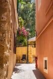 Greek architecture in Chania old city, Crete island stock photo