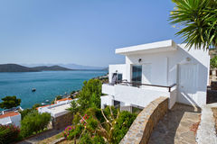 Greek architecture at Mirabello Bay Stock Photo