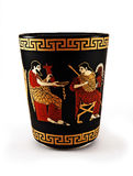 Greek art cup. Painted Greek art cup with God Zeus Stock Image