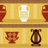 Greek art - vases, lyre, meander. Seamless pattern Royalty Free Stock Photography
