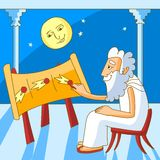Greek astronomer. Cartoon illustration. First steps in understanding the universe. Greek astronomer is drawing the motion path of comet Royalty Free Stock Photo
