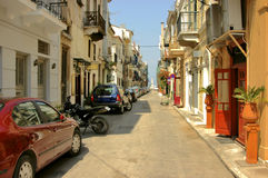 Greek Back Street. Traditional buildings line this backstreet in Napflion, Greece Stock Photo