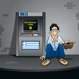 The Greek Bankruptcy. Beggar in front of an ATM stock illustration