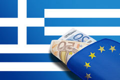 Greek banner euro wallet Stock Photos