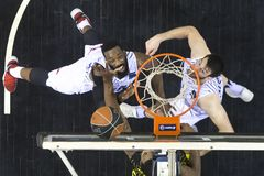 Greek Basket League game Paok vs Aris at PAOK sports arena. Royalty Free Stock Images