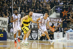 Greek Basket League game Paok vs Aris. Thessaloniki, Greece, February 5, 2017: Some players in action during the Greek Basket League game Paok vs Aris at PAOK Royalty Free Stock Images