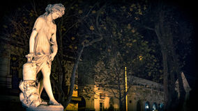 Greek bather woman statue on night city lights, La Serena, Chile. Greek bather woman statua on street in La Serena city Royalty Free Stock Image