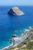 Greek beach, amorgos island. Typical view of shore in cycladic islands, taken in amorgos royalty free stock images