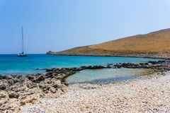 Beach at cape tenaron in Mani Greece. The southernmost point of mainland Greece royalty free stock images