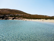 Greek beach in Despotiko Island, Greece Royalty Free Stock Photo