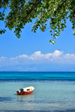 Greek beach on the island of Corfu in the mediterranean. Greek beach on the island of Corfu Kerkyra in the mediterranean sea with sunny weather stock photos