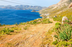 Greek beautiful wild landscape with mountain path Royalty Free Stock Photography