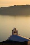Greek Bells. Overlooking the water in Santorini Stock Image