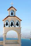 Greek belltower. The belltower of a monastery in Crete, an iconic Greek scene stock photos