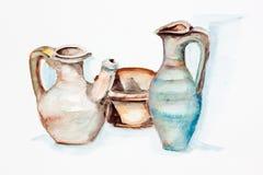 Greek  big clay jugs Stock Image