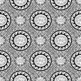 Greek black and white geometric seamless pattern. Vector monochr. Ome abstract patterned background. Geometric shapes, figures,circles, rhombus, greek key Royalty Free Stock Photos