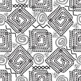 Greek black and white vector seamless pattern. Geometric patter. Ned white background. Doodle abstract ornament with meanders, greek key, squares, circles, chalk royalty free illustration