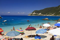 Greek blue beach, Lefkada, Greece Royalty Free Stock Photo