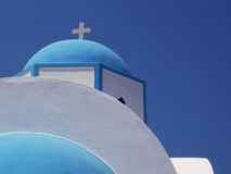 Greek blue chapel dome Royalty Free Stock Photo