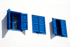 Greek Blue Windows Royalty Free Stock Photo