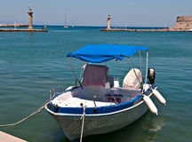 Greek boat. Lonely boat in rhodes Colossus Royalty Free Stock Photo