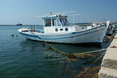 Greek boat. White and greek blue royalty free stock photo