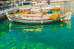 Greek boat at Agios Nikolaos port Stock Photo