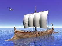 Greek boat - 3D render Royalty Free Stock Photos