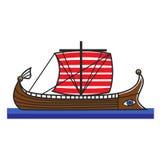 Greek boat Odyssey argonauts for Greece travel destination famous tourist vector icon Stock Photos
