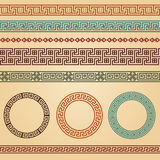 Greek borders decoration elements. Border decoration elements patterns in different colors. Most popular ethnic border in one mega pack set collections. Vector Royalty Free Stock Photography