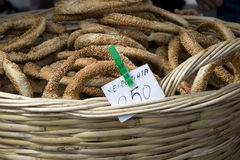 Greek bread with sesame seeds. Koulouri is a circular Greek bread. They are often sold by street vendors. Image taken in Monastiraki square Athens Royalty Free Stock Photos
