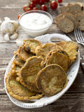 Greek breaded eggplant slices. Greek breaded and fried eggplant slices Stock Photography